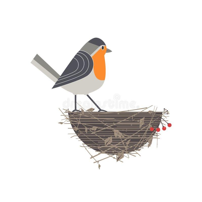 Rödhakefågelsymbol vektor illustrationer