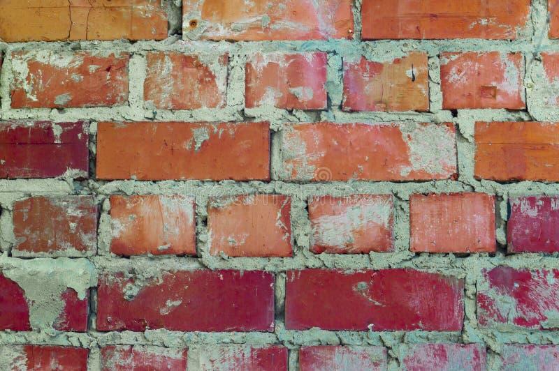 Rödtegelvägg Slaktsam, grov masonry arkivfoto