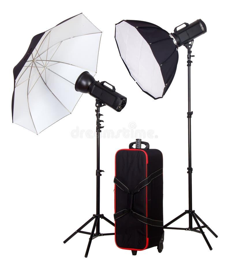 Röhrenblitz mit zwei Studios mit Tasche lizenzfreie stockfotografie