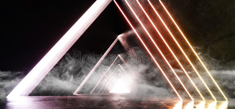 Rök fördunklar faktiska neonljus gulnar vibrerande epos för det orange för laser-showklubban för det underjordiska garaget främma stock illustrationer