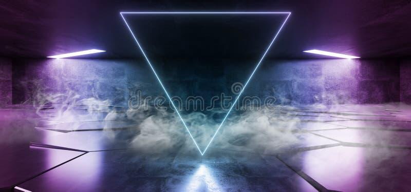 Rök fördunklar glödande strålar för faktisk för neonljus för laser för show för lilor blå vibrerande underjordisk för hall för in stock illustrationer