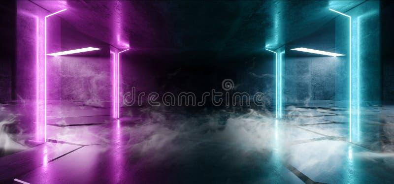 Rök fördunklar glödande strålar för faktisk för neonljus för laser för show för lilor blå vibrerande underjordisk för hall för in royaltyfri illustrationer