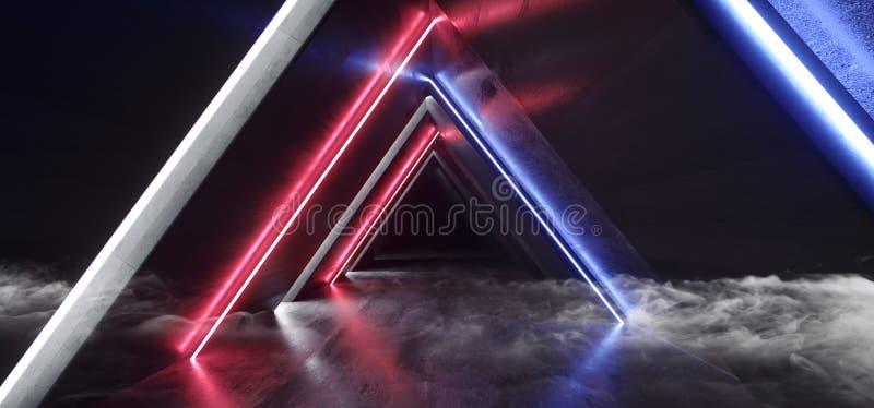 Rök fördunklar tom vibrerande epos för det faktiska för neonljus röda blåa för laser för showen för klubban för det underjordiska royaltyfri illustrationer