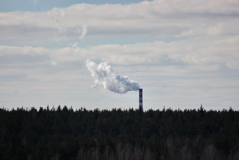 Rök från fabriksröret över skogen, nära staden, miljöskydd utsläpp av avfalls in i atmosfären keep royaltyfria foton
