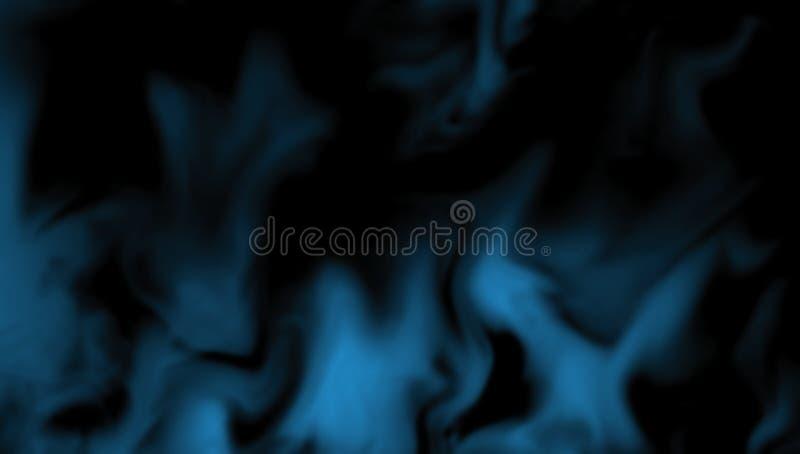 Rök på golvet Isolerad svart bakgrund Abstrakt blå rökmistdimma på en svart bakgrund royaltyfri foto