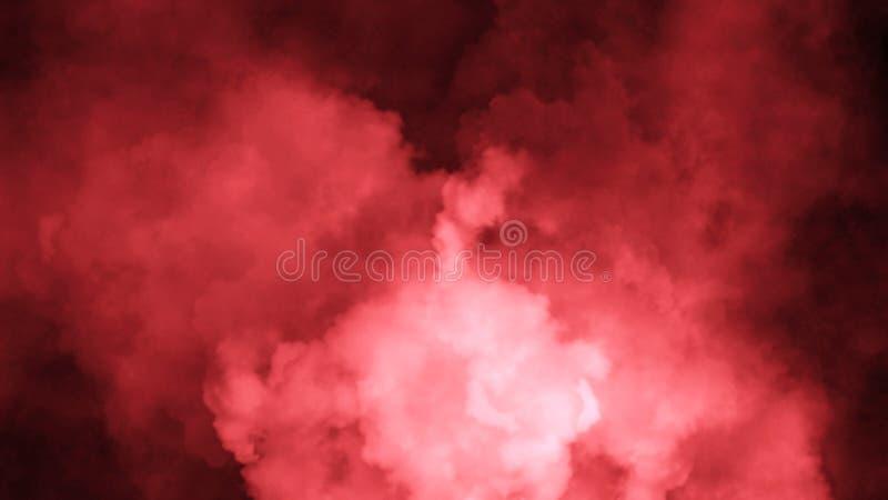 Rök på solated bakgrunden för golv den jon Röda dimmiga effekttextursamkopieringar för text eller utrymme royaltyfri fotografi