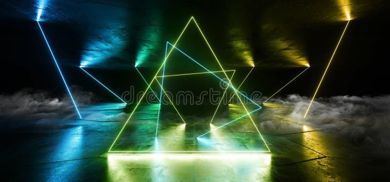 Rök Sci Fi Nyans ljusglimtar Gula blå laserlinjelinjer Plugs Floor Lasers Studio Stage Show Night Retro Futuristic stock illustrationer