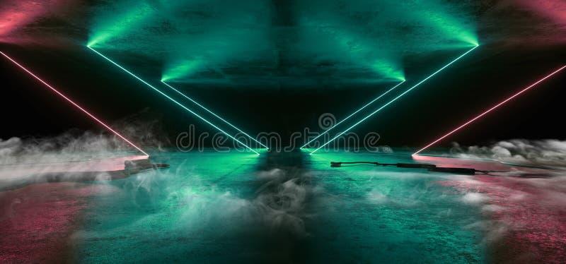 Rök Sci Fi Nyans ljusstråle Blå röda laserkablar Plugs Floor Lasers Studio Stage Show Nght Retro Futuristic Modern vektor illustrationer