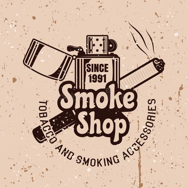 Rök shoppar vektoremblemet med tändaren vektor illustrationer