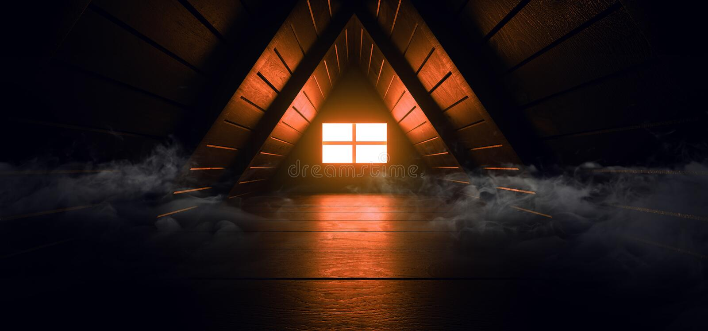 Rök Spooky Mörkt fönster Orange Sun Light Triangle Roof Tunnel Corridor Attic Led Light Vibrant Wood Planks Texture (Rökbar) royaltyfri illustrationer