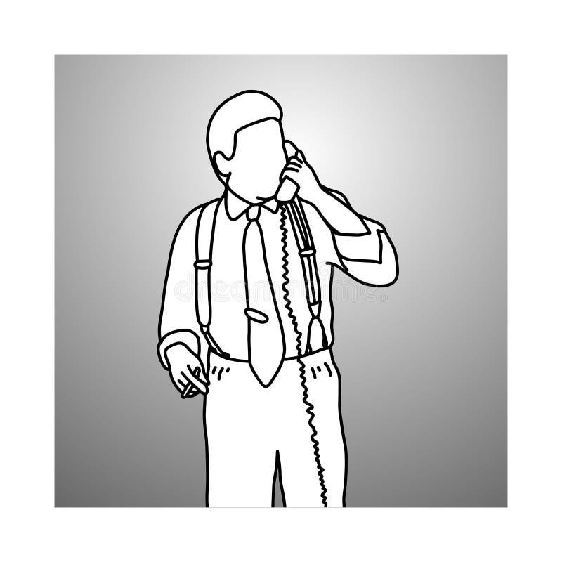 Röka affärsmannen med hängslen eller hänglsen genom att använda skrivbordtelepho royaltyfri illustrationer