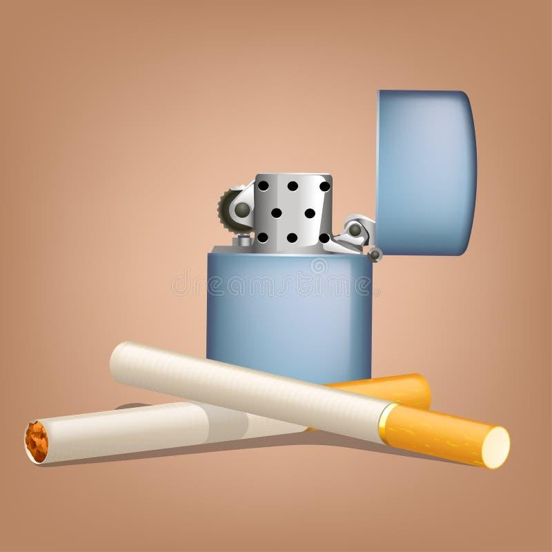 Röka cigaretter med zippo royaltyfri illustrationer