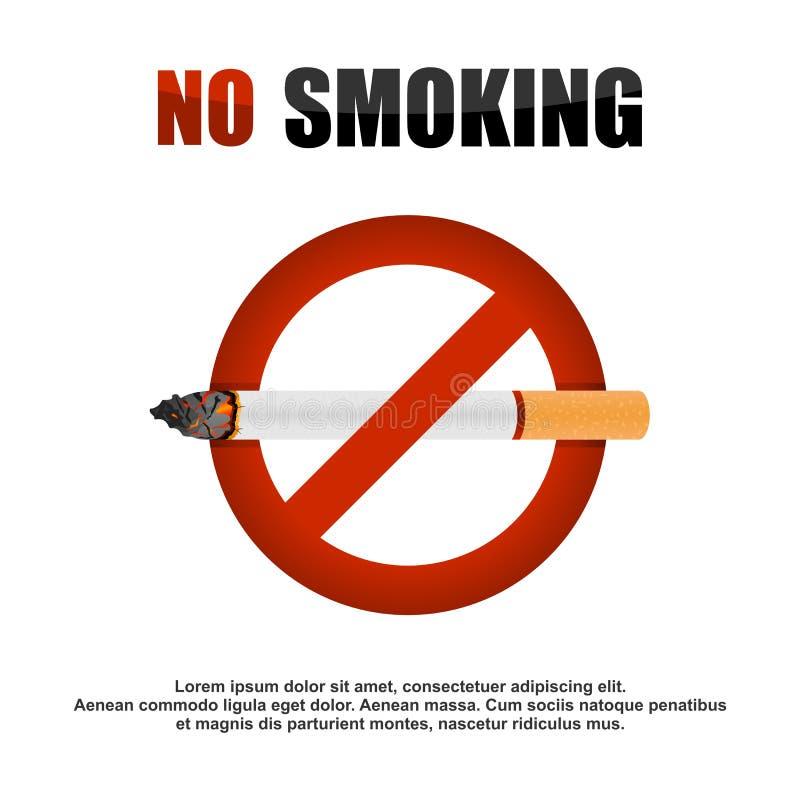 Röka cigarettförbudbanret stock illustrationer