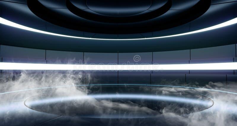 Röka dimmarymdskeppbakgrund Sci Fi som futuristiskt modernt främmande rum Hall Glowing Blue Violet Neon tänder den fluorescerande royaltyfri illustrationer