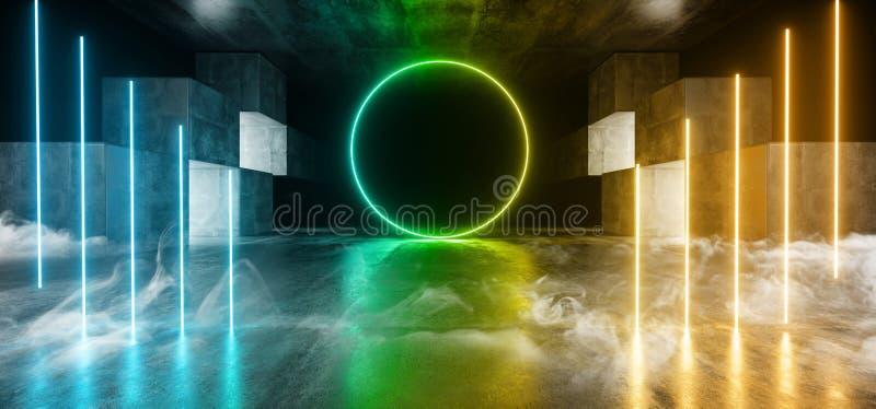 Röka för den Sci Fi för det framtida diagrammet för neonljus glödande orange grön blå vibrerande faktisk konstruktion för etappen vektor illustrationer