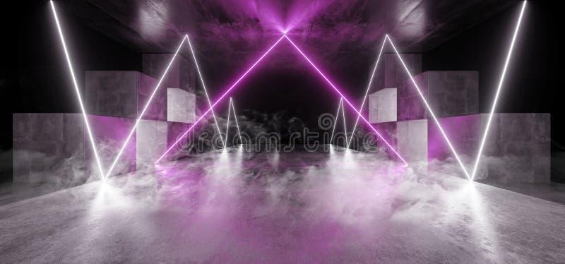 Röka för den Sci Fi för vita lilor för det framtida diagrammet för neonljus det glödande vibrerande faktiska garaget för konstruk stock illustrationer