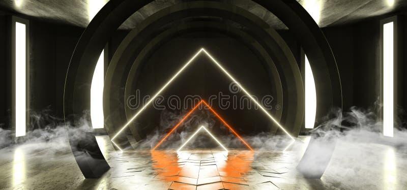 Röka futuristisk Sci Fi för neonljus betong för Grunge för korridoren för tunnelen glödande orange gul faktisk vibrerande för det stock illustrationer