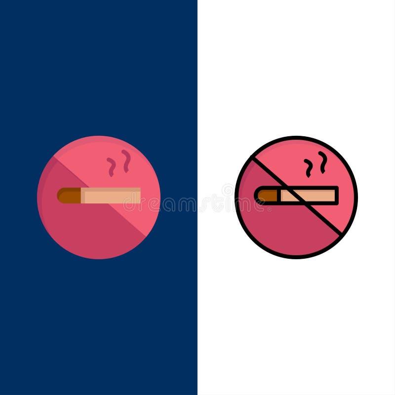 Röka inte - röka, cigarett, vård- symboler Lägenheten och linjen fylld symbol ställde in blå bakgrund för vektorn vektor illustrationer