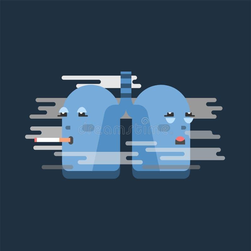 Röka lungateckenet, begreppsmässig vektorillustration Skada för respiratoriskt system, sjuklig uppehälle vektor illustrationer