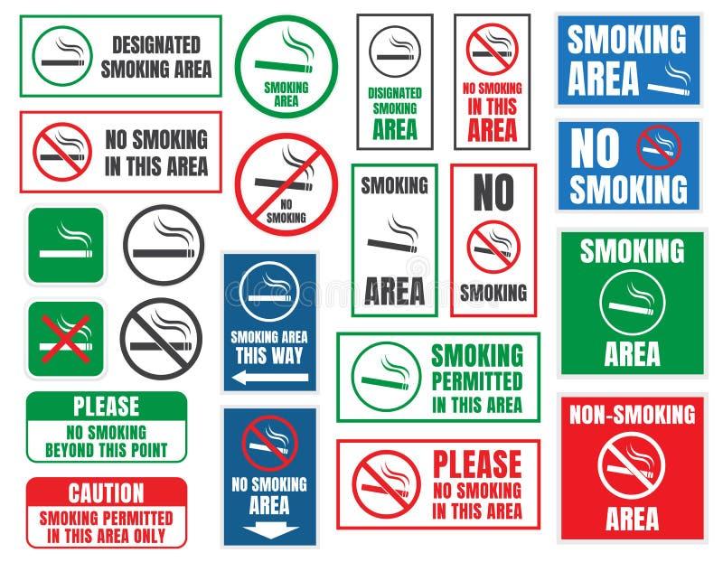 Röka område och inget - röka tecken stock illustrationer