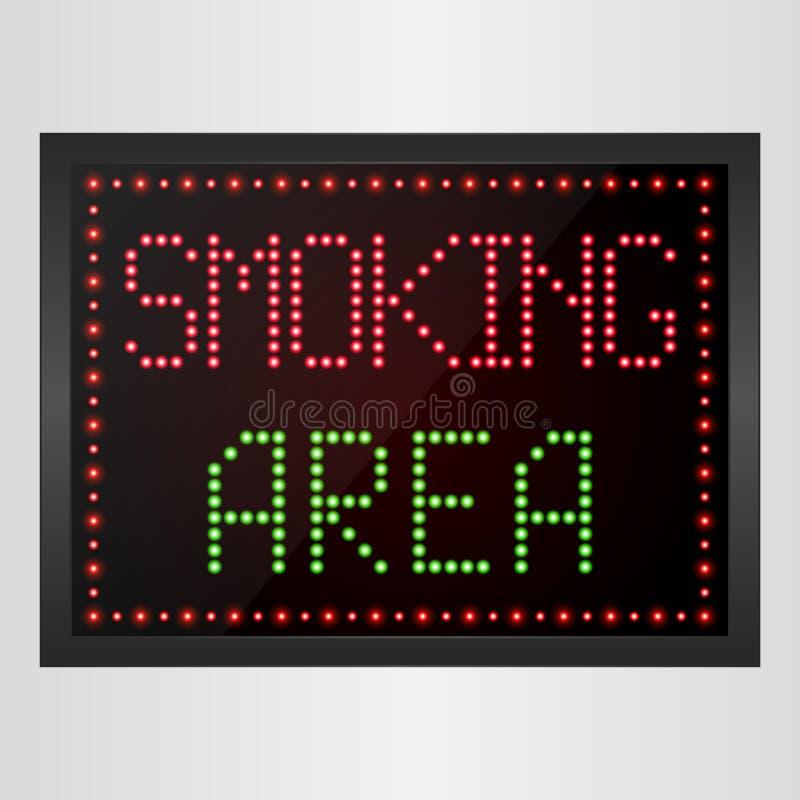 Röka områdesmeddelandet LEDDE det digitala tecknet stock illustrationer