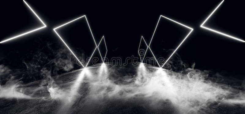 Röka reflexionen för golvet för Grunge för vibrerande lilor för glöd för showen för Sci Fi nattneon blåa den tomma moderna futuri stock illustrationer