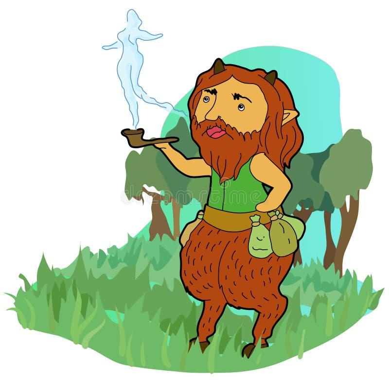 Röka satyren arkivfoto