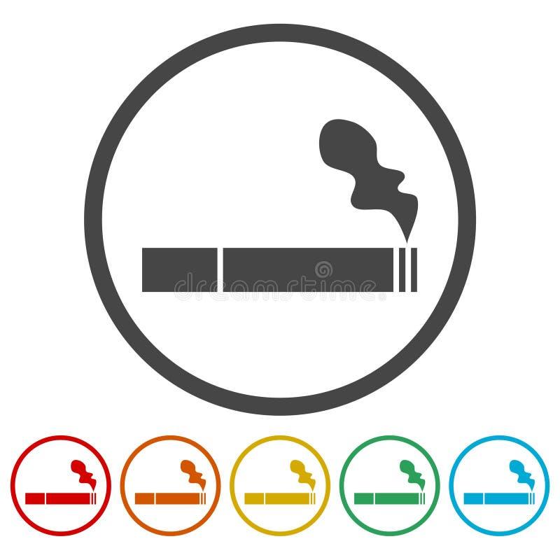 Röka symbolen, rökvektorsymbol vektor illustrationer