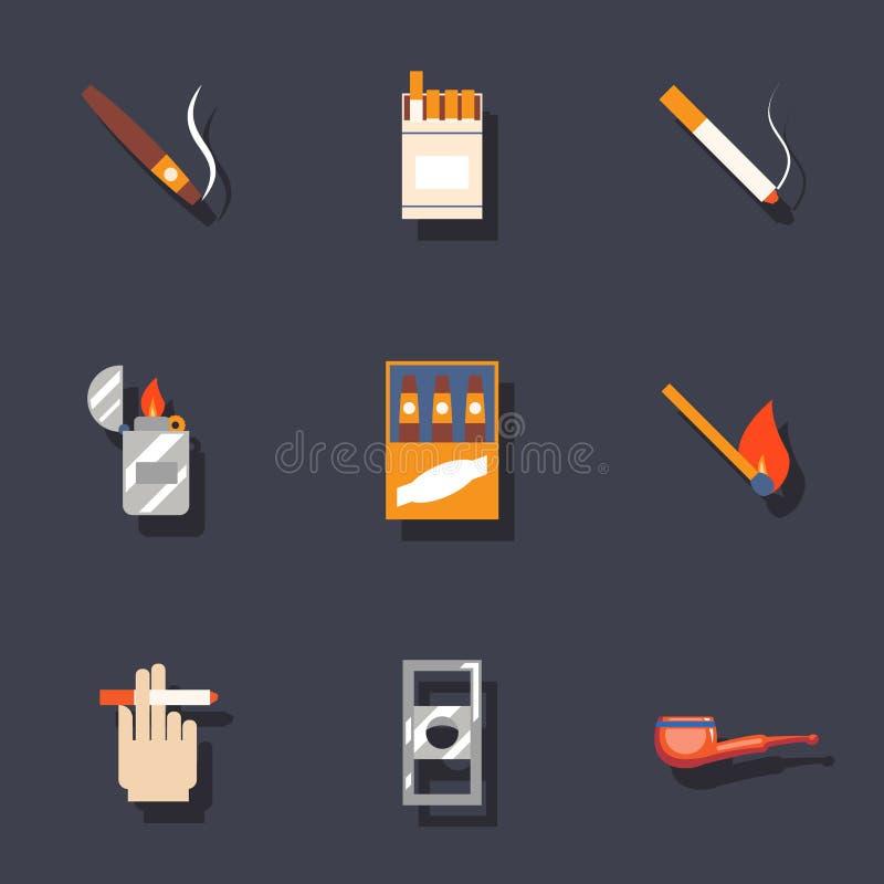 Röka symbolsuppsättningen vektor illustrationer