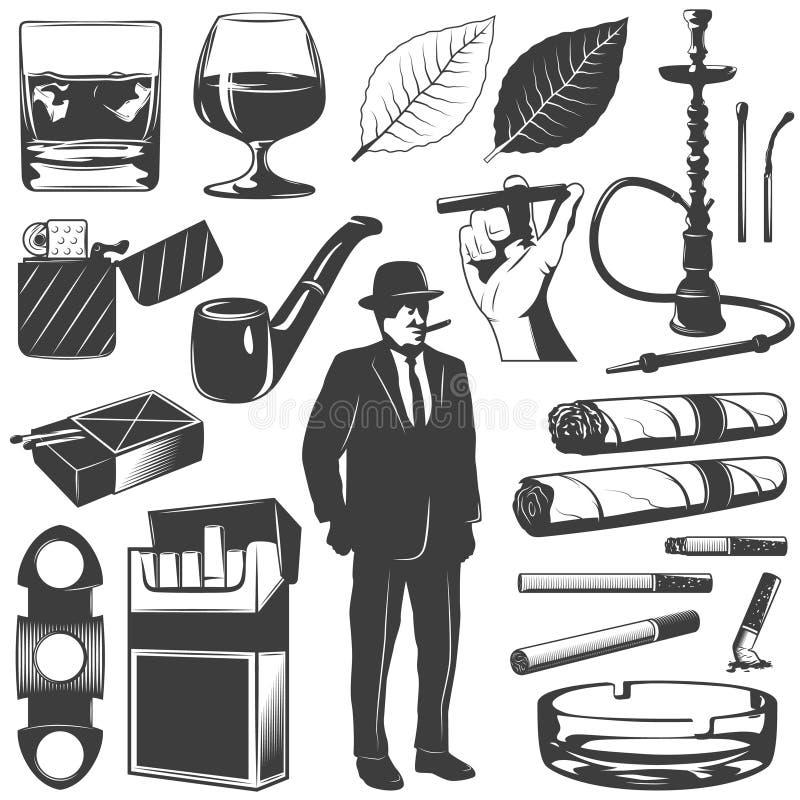Röka symbolsuppsättningen stock illustrationer