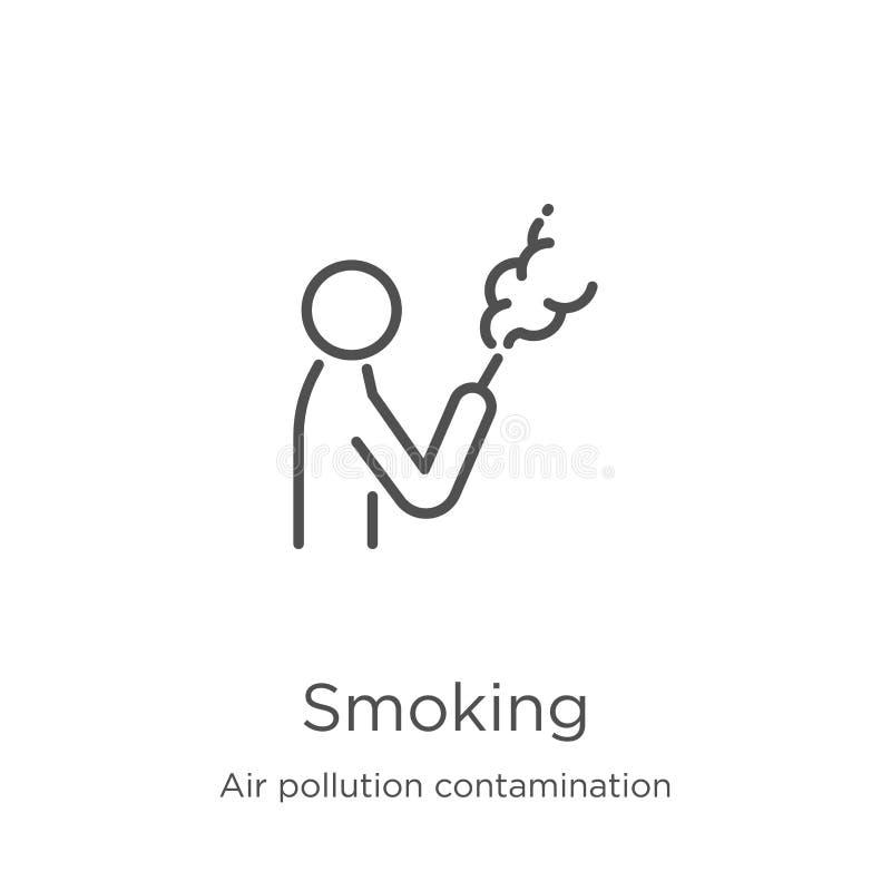 röka symbolsvektorn från luftföroreningföroreningssamling Tunn linje som r?ker illustrationen f?r ?versiktssymbolsvektor ?versikt stock illustrationer