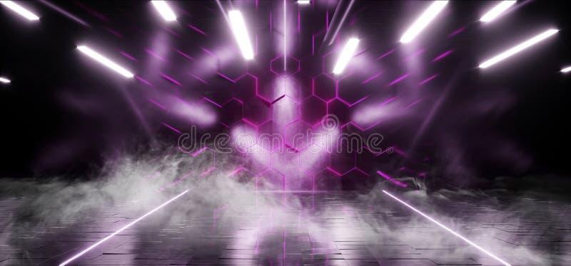 Röka Violet Club Stage Room Hall för lilor för Sci Fi sexhörningsneon den futuristiska showen som den vibrerande virtuell verklig vektor illustrationer