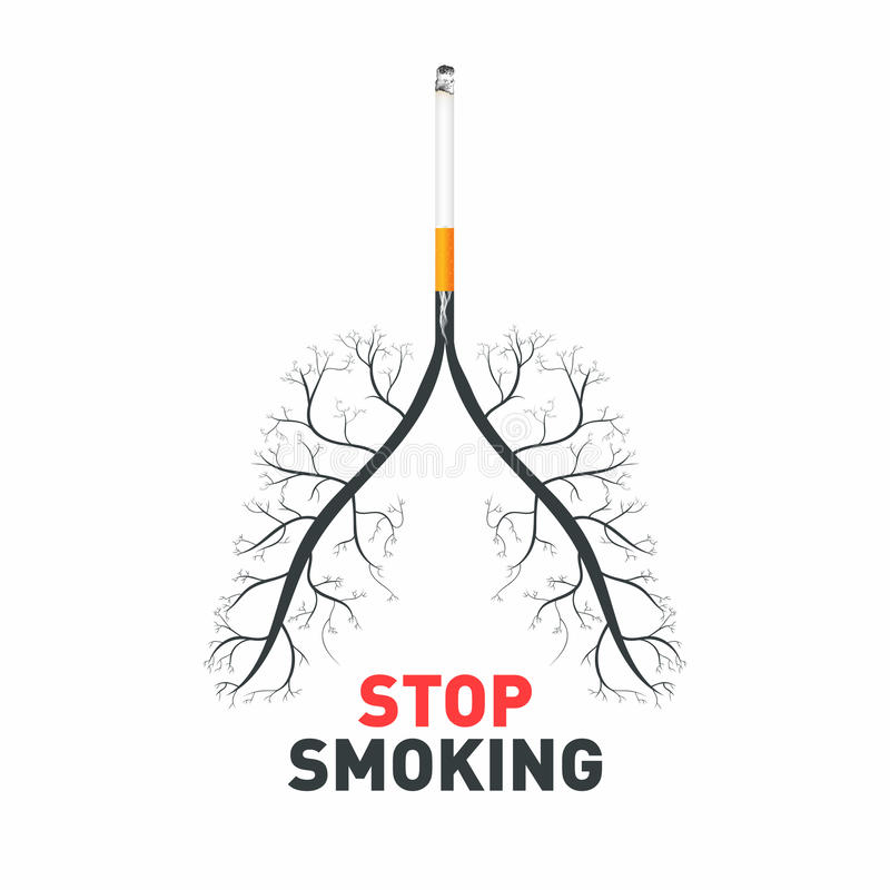 rökande stopp Cigarett med mänskliga lungor Inget - röka medvetenhet, gift och sjukdomar av cigaretten royaltyfri illustrationer