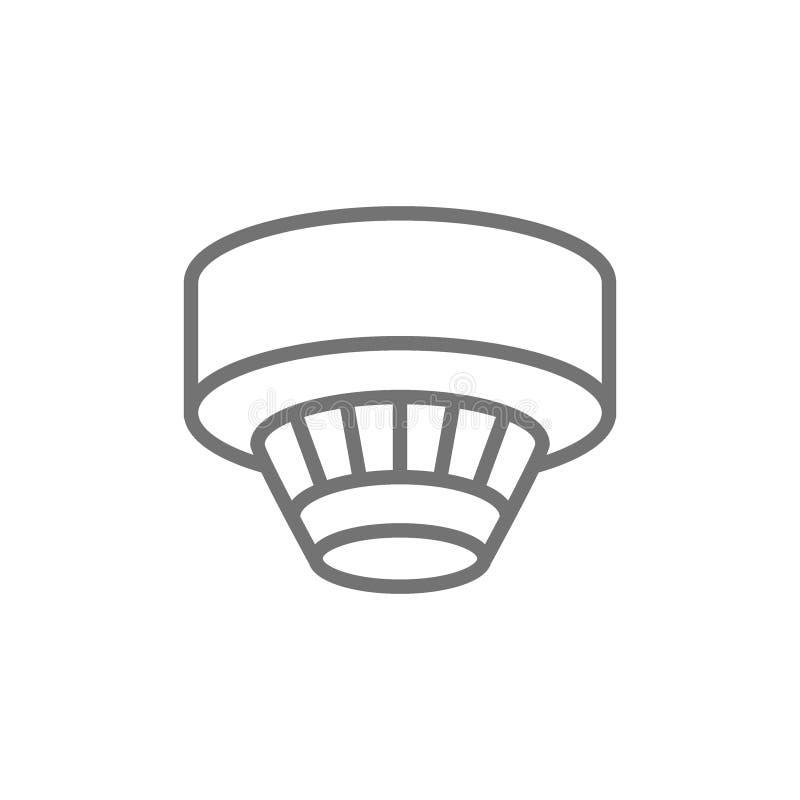 Rökavkännare, linje symbol för larmsystem bakgrund isolerad white stock illustrationer