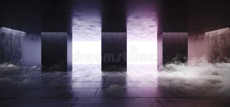 Rökbetongkolonner Asphalt Dark Purple Pink White glöder hallet för korridoren för tunnelen för det vibrerande reflexionsGrungegar royaltyfri illustrationer