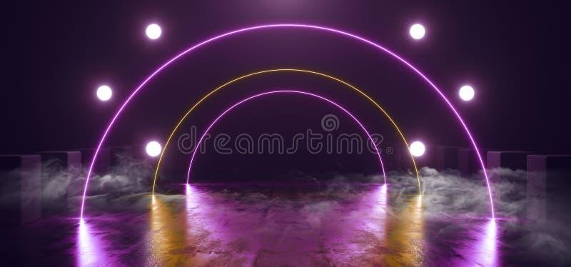 Rökfärgen Foggy Neon Glowing Laser Arc Purple Orange Studio Lights Garage Underground Garage Stage Podium Club Dance Floor Grunge stock illustrationer
