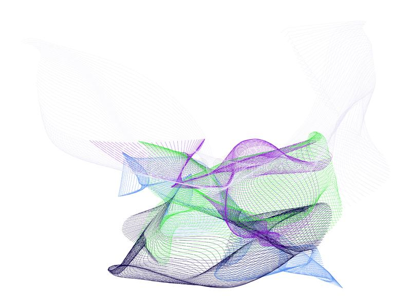 Rökig linje abstrakt begrepp för konstillustrationbakgrund, konstnärlig textur Kurva, effekt, kanfas & digitalt vektor illustrationer