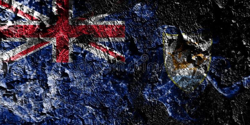 Rökig mystisk flagga för brittiska utländska territorier - Anguilla på den gamla smutsiga väggbakgrunden stock illustrationer