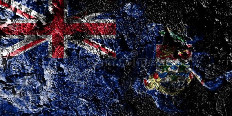 Rökig mystisk flagga för brittiska utländska territorier - Caymanöarna på den gamla smutsiga väggbakgrunden vektor illustrationer