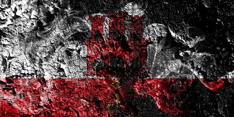 Rökig mystisk flagga för brittiska utländska territorier - Gibraltar på den gamla smutsiga väggbakgrunden royaltyfri illustrationer