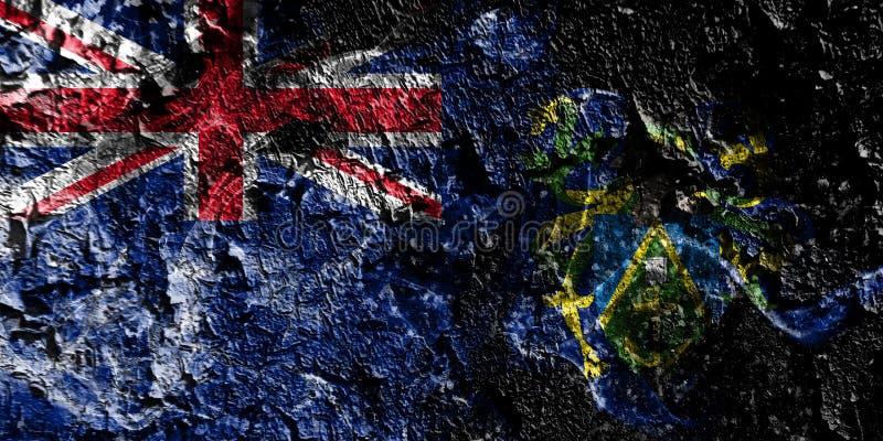 Rökig mystisk flagga för brittiska utländska territorier - Pitcairn öar på den gamla smutsiga väggbakgrunden royaltyfri illustrationer