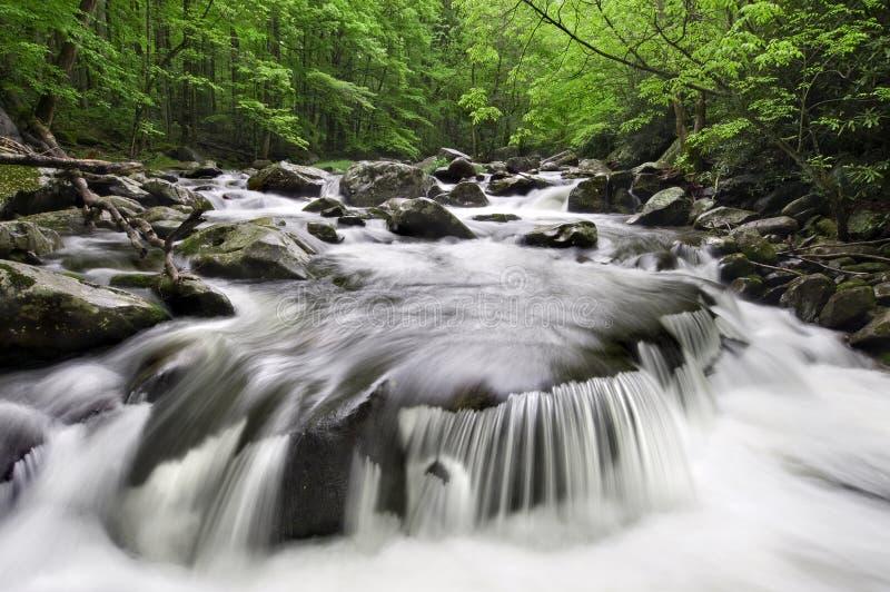 rökig vattenfall för berg royaltyfria foton