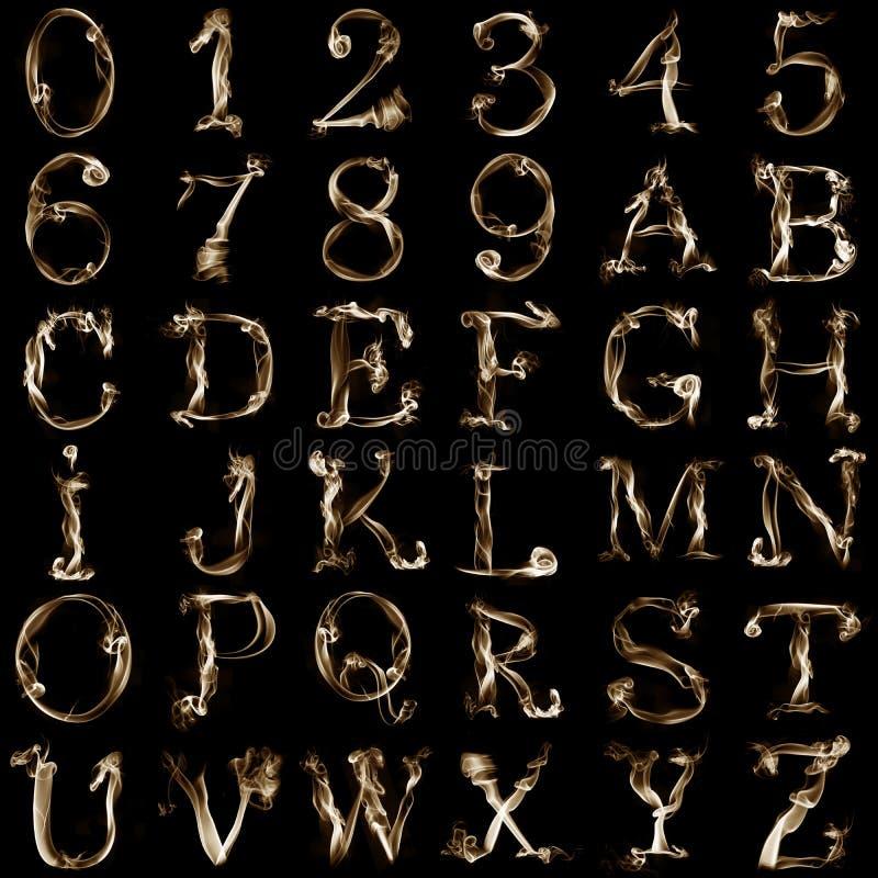 rökigt alfabet royaltyfri illustrationer