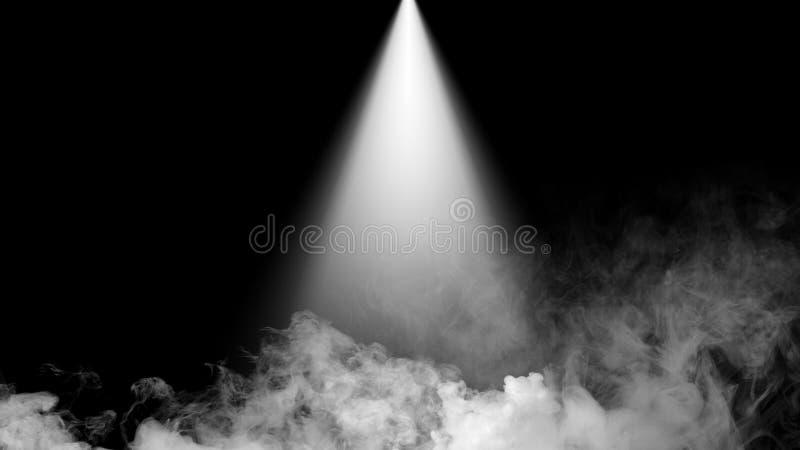 Rökmoln för torr is fördunklar golvtextur Vit perfekt strålkastaremisteffekt på isolerad svart bakgrund arkivfoton