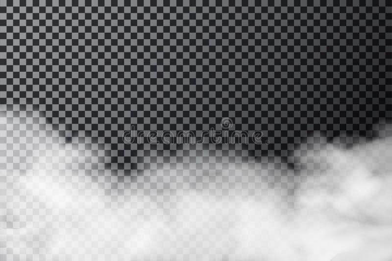 Rökmoln på genomskinlig bakgrund Realistisk dimma- eller misttextur som isoleras på bakgrund vektor illustrationer