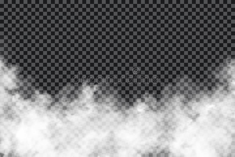 Rökmoln på genomskinlig bakgrund Realistisk dimma- eller misttextur som isoleras på bakgrund Genomskinlig rökeffekt royaltyfri illustrationer