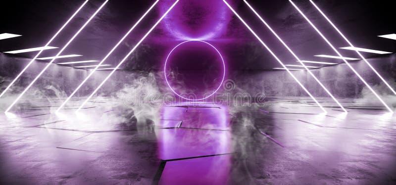 Rökneon tänder det faktiska hallet för mörkt rum för Grunge för golvet för den cirkelSci Fi futuristiska glödande purpurfärgade b stock illustrationer