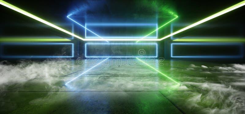 Rökneon tänder det tomma faktiska glödande blåa gröna främmande rymdskeppet för den vibrerande mörka för garagerumtunnelen underj vektor illustrationer