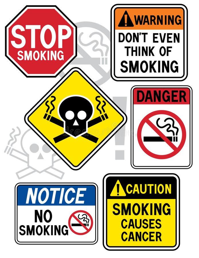 rökning för 2 faratecken stock illustrationer