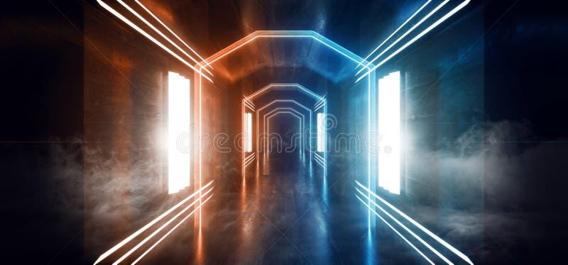 Rökning Fog Mist Big Hall Neon City Retro Modern virtuell verklighet Sci Fi Futuristic Blade Runner Orange Blue Concrete Grunge T royaltyfri illustrationer